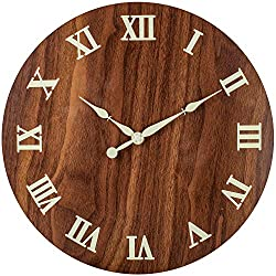 BEW Luminous Wall Clock, Classic Roman Numerals Silent Non-Ticking Battery Operated, Retro Decorative Clock for Living/Dining/Kids Bedroom/Kitchen (12 Inch Wood Grain)