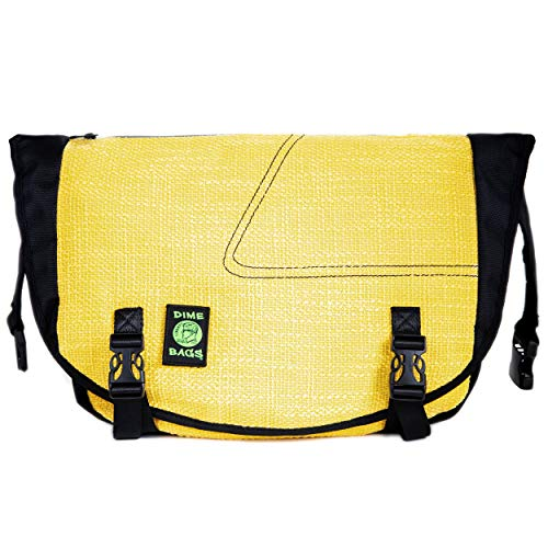 Dime Bags Voyage Messenger Over the Shoulder Bag with Padded Pouch for Laptop Computer (Yellow)
