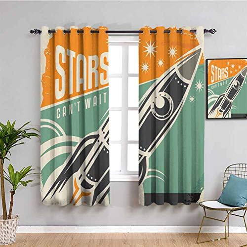 Vintage Decor Black Out Cortinas para dormitorio estrellas no puede esperar publicidad retro con figura de cohete lanzamiento de su negocio imagen muebles de protección multi W42 x L63 pulgadas