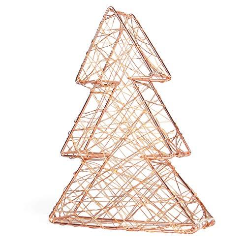 SnowEra - Décoration lumineuse / Illumination de Noël en Métal avec 140 micro-LED - Couleur LED : Blanc chaud - Forme : Arbre en métal bronze