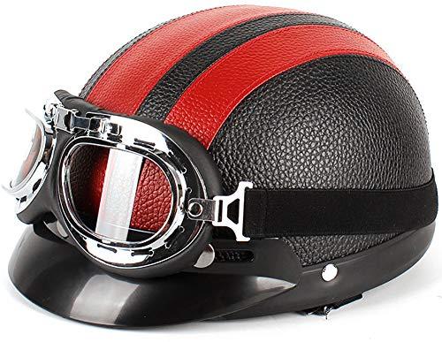 Casco De Cara Abierta Para Adultos, Medio Casco De Motocicleta Retro Para Hombres Y Mujeres, Gorra De Béisbol De Moda, Modelado, Bicicleta Crucero Scooter Certificado DOThelmet 6,52-62CM