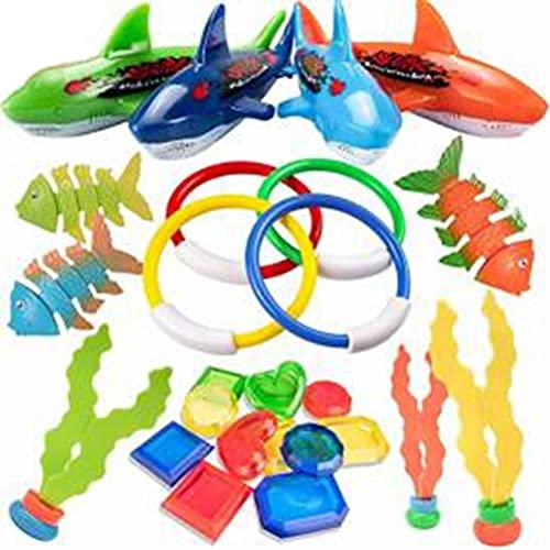 Miokycl Juego de 26 juguetes de buceo, subacuáticos, para piscina, subacuáticos, para bucear en la piscina, juguete para niños, torpedo, piedras preciosas