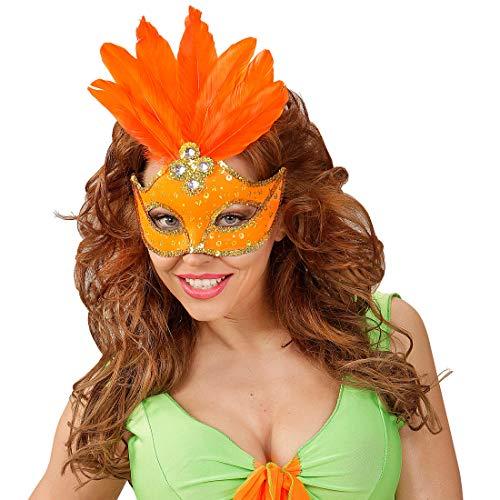 NET TOYS Masque de Carnaval brésilien avec Plumes - Orange - Masque aux Finitions soignées vénitien avec Plumes - Le Point Fort du Carnaval & Bal masqué