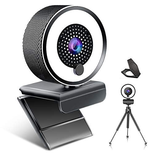 Streaming Webcam, 2K Full HD Computer Camera with Ring Light and Dual Microphone, Advanced Auto-Focus Adjustable Brightness, Metal Web Cam for Zoom Skype Facetime Conference Game PC Mac Laptop Desktop
