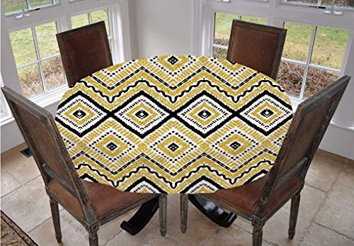 Angel Bags Gold and White Round Tablecloth,Ethnic Tribal Motif with Rectangular Lines Dots and Curvy Image Polyester Table Cover,60 Inch,for Indoor and Outdoor Events Yellow Black and White