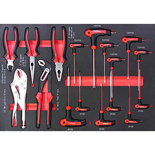 newpo | Werkzeugset | 17 Teile | Zangen- und T-Griff-Schraubendreher | Shadowboard Nr. 7 | Wasserpumpenzange Seitenschneider