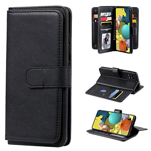 Jeewi Hülle für Galaxy A51 5G Hülle Handyhülle [Standfunktion] [Kartenfach] [Magnetverschluss] Tasche Etui Schutzhülle lederhülle klapphülle für Samsung Galaxy A51 5G - JEKT010158 Schwarz