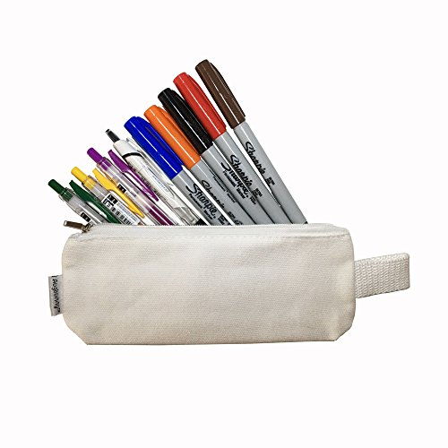Augbunny Multi-Purpose 100% Cotton 12oz Canvas Zipper Pen Pencil Stationery Case Bag Cosmetic Makeup Pouch 6-Pack Photo #5