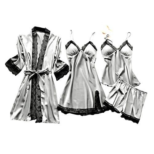 Deloito 4 Stück Dessous Set Damen Kunstseide Spitze Negligee Robe Nachtkleid Babydoll Nachtwäsche Nachthemd Pyjamas Schlafanzug Reizwäsche Vierteiliger Anzug (Grau,Small)