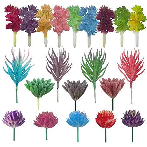 Cayway Artificiales Plantas Suculentas, 21 Pz Multicolor Suculentas Falsas Surtidas de Plantas Suculentas Artificiales para el Hogar Decoración Interior de Hadas del Jardín