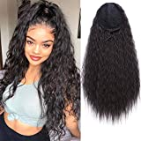 AISI BEAUTY Long Drawstring Ponytail Extension Synthetic 22' Kinky Straight Bun Ponytail Clip on Hair Extensions Ponytail for Women(2#)