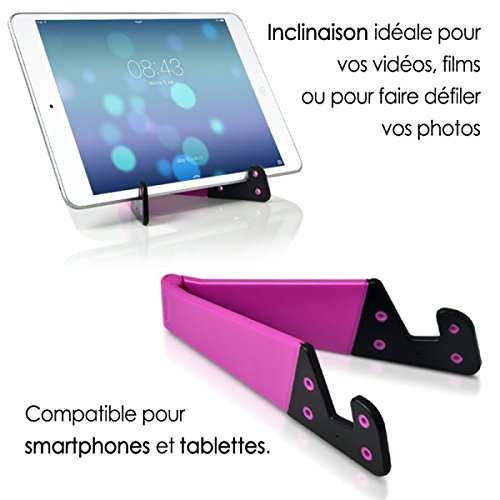 Seluxion–Pink Pocket Foldable Universal Stand for Tablets & Smartphones iPhone 55s 5°C 66S iPad Air 5432Pro 6Plus 44S 33G