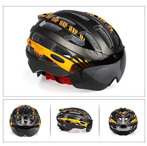 FENGE Bike Fahrradhelm,mit Abnehmbaren Schutz,Abnehmbaren Schutzbrille Schild Visier,25 Belüftungsöffnungen,kann über die Brille, 54-57cm
