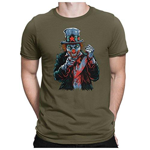 PAPAYANA - Killer-Clown - Herren Fun T-Shirt - Halloween Es Horror Saw Maske Movie Kostüm Red Scream - L Oliv
