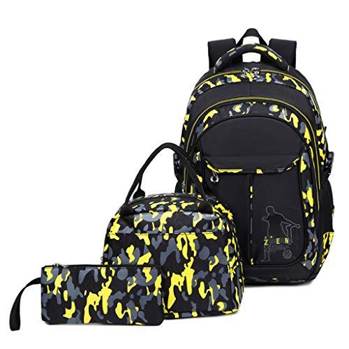 Schulrucksack Jungen Teenager, Kinderrucksack Camouflage Rucksäcke Jugendliche Jungen Mädchen 3-In-1 Schulranzen für Schule(Gelb)