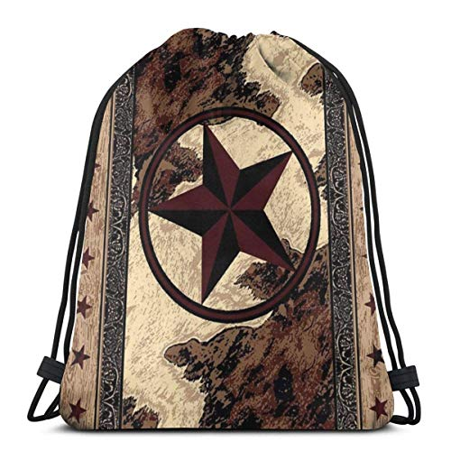 asdew987 Mochila con cordón, estilo retro Texas Star Western America, para hombre, ligera, con cuerda de viaje