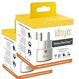 Konyks Priska Max Easy FR, Prise connectée WiFi+BT 16A avec compteur de consommation, compatible Alexa et Google Home, automatisations faciles, LOT DE 2