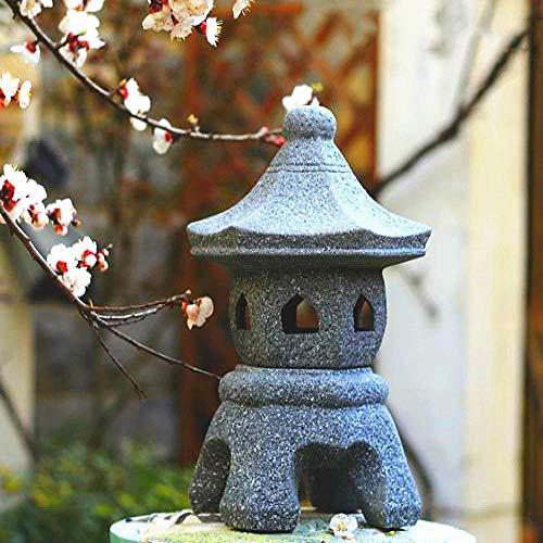 LXHJZ Linterna asiática Pagoda Jardín Adorno Chino japonés Escultura Linterna Decoración Zen Cerámica Grande
