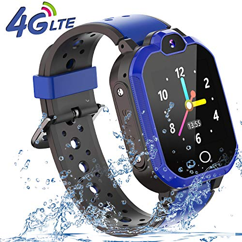 4G Smart Watch for Kids - WiFi GPS Tracker Kids Smartwatch Phone Waterproof Touch Screen Digital Wrist Watch with Call Voice Video Chat Pedometer Fitness Tracker Alarm Clock for Boys Girls (Blue)