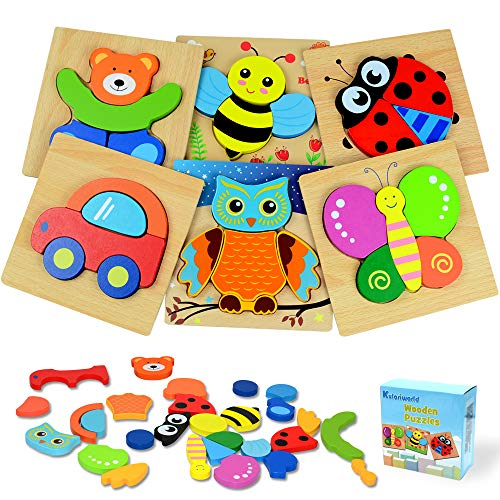 Kulariworld Wooden Jigsaw Puzzles, Toys for Toddlers Boys Girls 1 2 3 Years Old, 6 Pieces Shapes Developmental Toy Preschool Educational Xmas Gift with Vibrant Color Animal and Vehicle Pattern