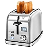 IKICH Toaster 2 Slice, Prime Rated Stainless Steel Bagel LCD Timer, 8 Bread Settings, Bagel/Def…