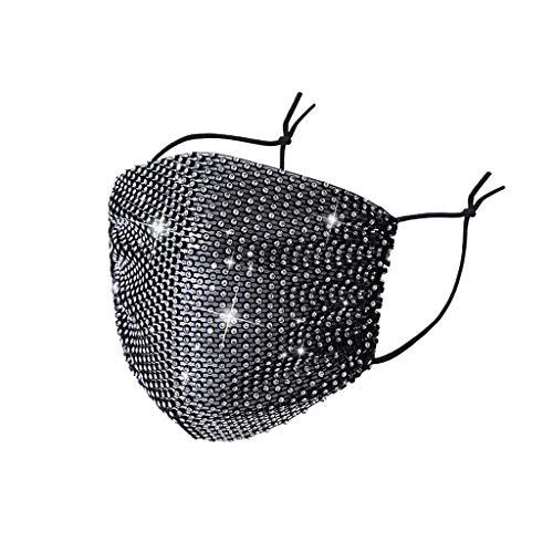 LIEIKIC Damen Mundschutz Kristalle Glitzer Elegant Waschbar Wiederverwendbar Atmungsaktive Mund und Nasenschutz Cover Halstuch für Halloween Abend Party (Schwarz)
