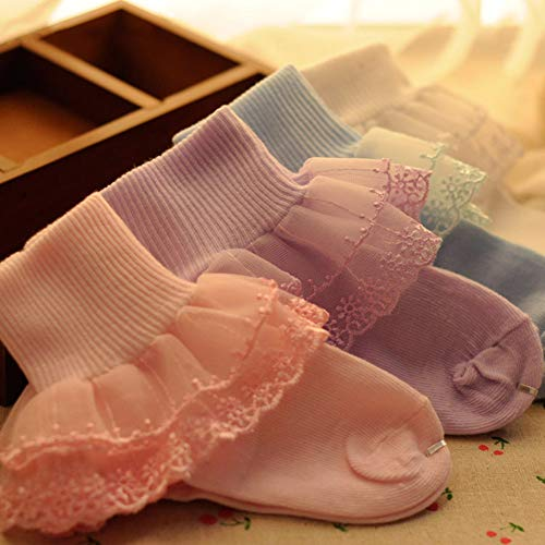 Kalaokei Funny Baby Socks Kids Toddlers Girls Solid Colors Soft Cotton Lace Durable Socks Durable and Elastic Violet MNone