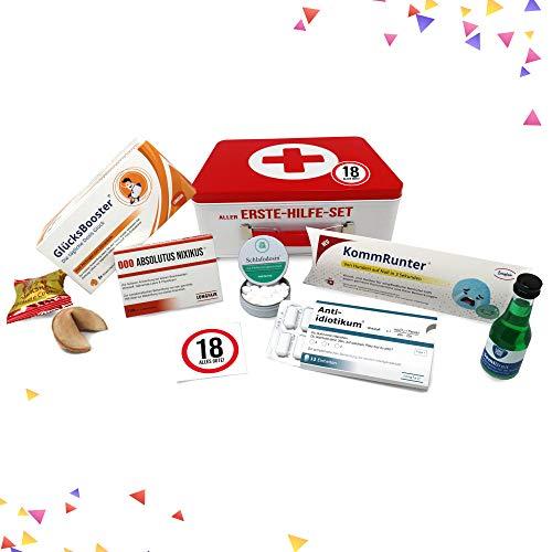 18. Geburtstag | Erste Hilfe Set Geschenk-Box, witziger Sanikasten | 8-teilig | Spaßgeschenk zum 18. Geburtstag - 2
