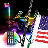 Beatto 4FT(1.2M) RF Remote Control RGB LED Whips Light with Dacning/Chasing Light LED Antenna Light for Off- Road Vehicle ATV UTV RZR Jeep Trucks Dunes.