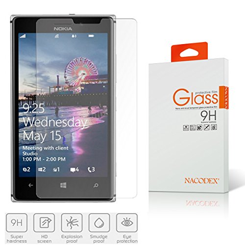 Nacodex Premium Real Tempered Glass Film Screen Protector for Nokia Lumia 925 - Protect Your Screen from Scratches - Retail Package - Ultra Thin|2.5D Border