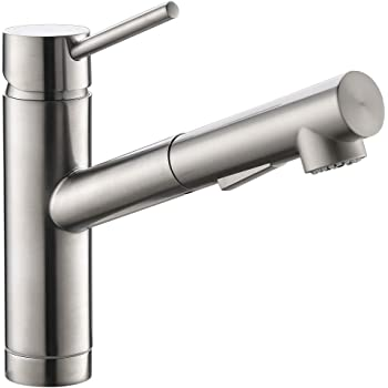 Pull Out Kitchen Sink Faucet in Brush Nickel, cUPC Certified Sink Bar Faucet Single Hole, Prep Sink Faucet with Sprayer in Brushed Nickel