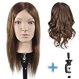 Übungskopf zum Frisieren, 100 % Echthaar, 40,6 cm, für Frisierübungen, Kosmetik-Kopf, Puppenkopf...
