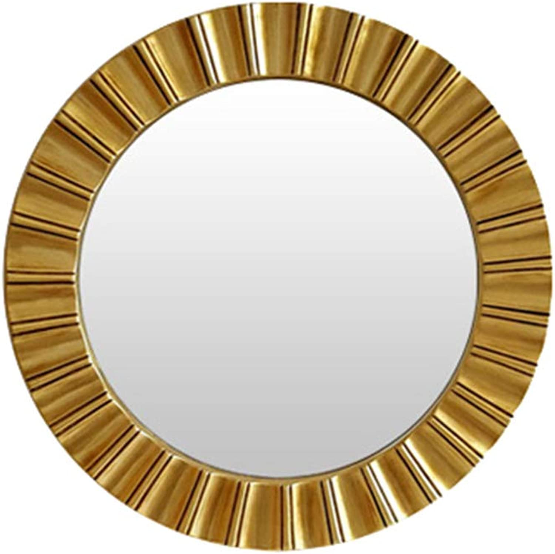 Indoor Decorations Bathroom Mirror-Wall-Mounted Vanity Mirror- Retro Decorative Round Mirror-Vanity Mirror Decorative Wall Mirror for Bedroom Bathroom Hotel 65 x 65cm  (color   gold)