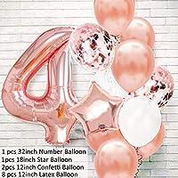 バルーン 12ピースローズゴールドナンバーフォイル風船誕生日パーティーデコレーションキッズ1stファーストベビーガールプリンセス1 2 3 4 5 6 7 8 9歳 (Color : 4th)