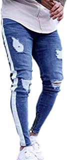 Nansiche Mens Stretchy Ripped Jeans Trousers Skinny Biker Jeans Destroyed Taped Slim Denim Pencil Pants