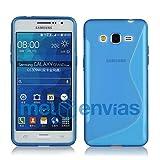 MELOENVIAS Funda para Samsung Galaxy Grand Prime G530H Gel TPU Diseño S-Line Color Azul