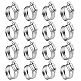 WINL Stainless Steel Hose Clamps - 16 Pack Worm Gear Drive Hose Clamps SAE 16 Clamping Range 3/4 Inch to 1-1/2 Inch (19mm-38mm) for Automotive Plumbing, 3/4'', 1'', 1 1/4'' Hose Clamps