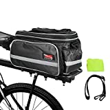 Arltb Bike Rear Pannier Bag Rack Rear Trunk Tote Bag with Extra Padded Foam Bottom, Zipper Pockets Waterproof Nylon Bicycle Seat Trunk Bag with Raincoat Shoulder Strap (WATER BOTTLE EXCLUDED) (Black)