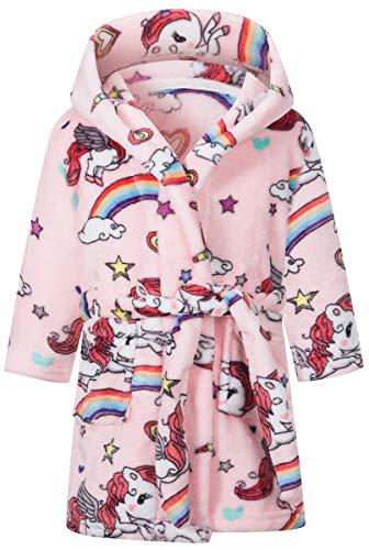 LANKMEI バスローブ 子供 ルームウェア フランネル ふわふわ フード付き 保温 前開き 可愛い 風呂上がり 部屋着 キッズ パジャマ ガウン プレゼント, 馬, 130