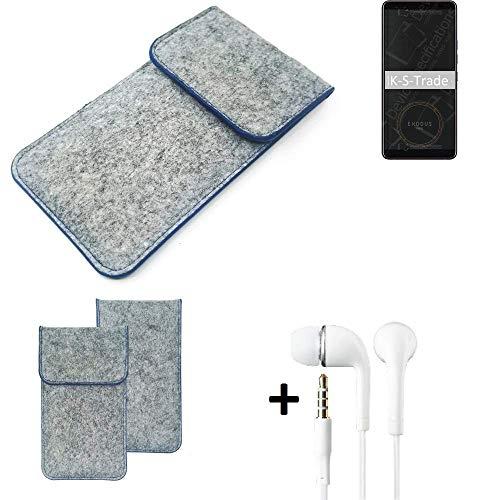 K-S-Trade Filz Schutz Hülle Für HTC Exodus 1 Schutzhülle Filztasche Pouch Tasche Handyhülle Filzhülle Hellgrau, Blauer Rand + Kopfhörer