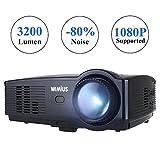Proiettore Portatile,WIMIUS T4 3200 Lumen Videoproiettore Full HD LCD 1280*800 Multimedia per Home Theater/Home Cinema con TV/AV/VGA/USB/HDMI (Nero)