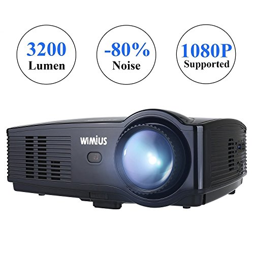 Proiettore Portatile,WIMIUS T4 3200 Lumen Videoproiettore Full HD LCD 1280*800 Multimedia per Home Theater/Home Cinema con TV/AV/VGA/USB/HDMI (Nero)