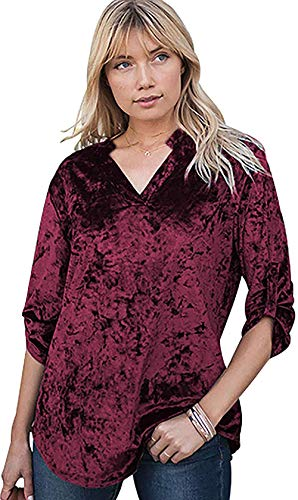 Shmily - Camiseta de manga larga para mujer con cuello en V, diseño de flores, retro Rojo vino sólido. S