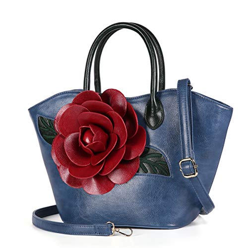 Women Purse Large Rose Flower Handbag Faux Leather Tote Bag By Vanillachocolate (Blue)