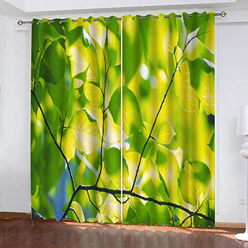 MEKVF Eyelet Blackout Curtains For Bedroom 280x250cm(Wxl) Cyan Plant Leaves Thermal Insulated Curtains 2 Panel Printed Polyester Curtains For Boys Girls For Bedroom Living Room Nursery Kids