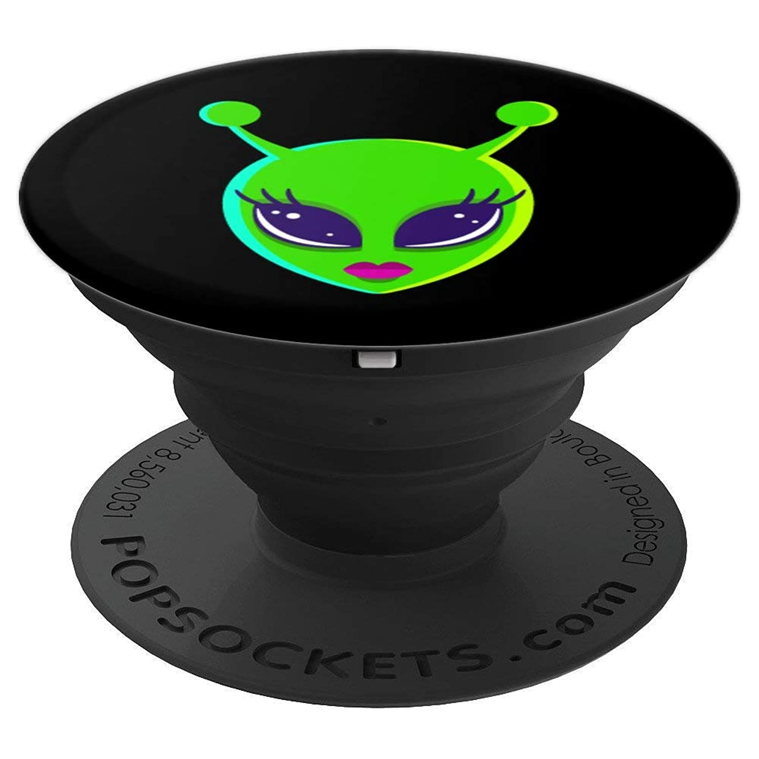 Alien Lady Babe Black Cute Space Galaxy Alien Lover Gift - PopSockets Grip and Stand for Phones and Tablets