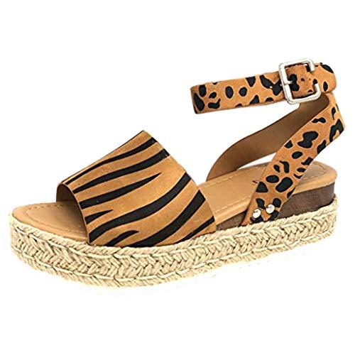 YWLINK Mujeres Sandalias,Europa Y America De Gran TamañO Leopardo,PatróN De Cebra De Gamuza Sandalias De Plataforma Correa De Hebilla Zapatos De Playa Viajes Aire Libre Zapatos Romanos(marrón,41EU)