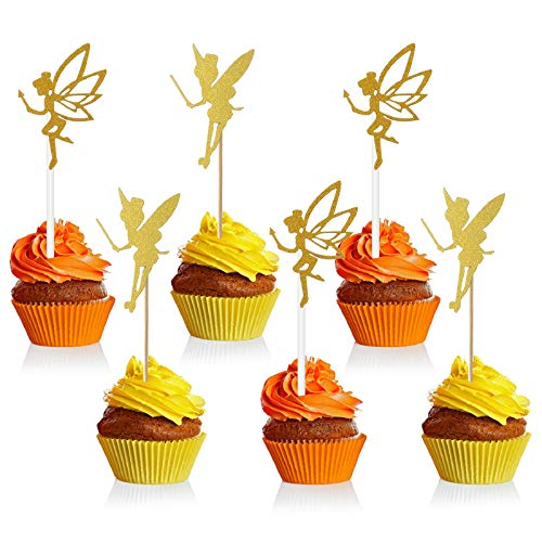 Blulu 60 Pieces Gold Glitter Fairy Cupcake Toppers Angel Fairy Cake Toppers Glitter Ballet Dancer Toppers for Birthday Bridal Shower Baby Shower Wedding Decoration