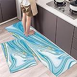 Alfombrillas de Cocina, alfombras Lavables Antideslizantes de baño, alfombras de Puerta de Entrada de Dormitorio de Sala de Estar de decoración del hogar A10 40x60cm + 40x120cm