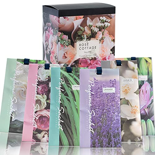 Rose Cottage Large 12 Packs Closet Freshener Scented Sachets for Drawers Closet Air Fresheners Home Scented Potpourri Bags Closet Deodorizer Freshener for Clothes 6 Scents